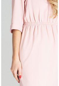 Różowa sukienka Figl casualowa, asymetryczna