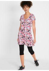 Długa tunika z kreszowanego materiału + legginsy 3/4 bonprix czarno-różowy w kwiaty. Kolor: czarny. Materiał: materiał. Długość: długie. Wzór: kwiaty