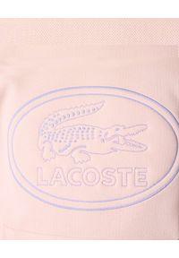 Lacoste - LACOSTE - Jasnoróżowa bluza z kapturem. Typ kołnierza: kaptur. Kolor: różowy, wielokolorowy, fioletowy. Materiał: bawełna, polar, jeans. Wzór: haft, prążki. Styl: klasyczny