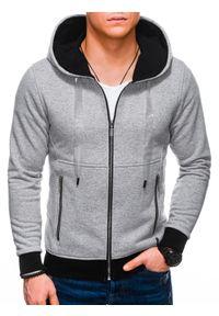 Ombre Clothing - Bluza męska rozpinana z kapturem B1218 - szara - XL. Typ kołnierza: kaptur. Kolor: szary. Materiał: bawełna, poliester