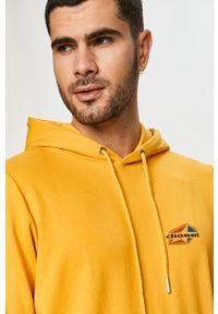 Żółta bluza nierozpinana Diesel casualowa, z kapturem, z aplikacjami, na co dzień