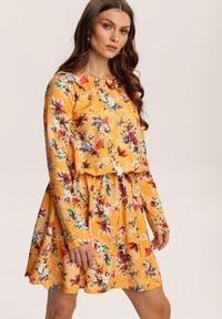 Renee - Żółto-Bordowa Sukienka Zapopa. Kolor: żółty