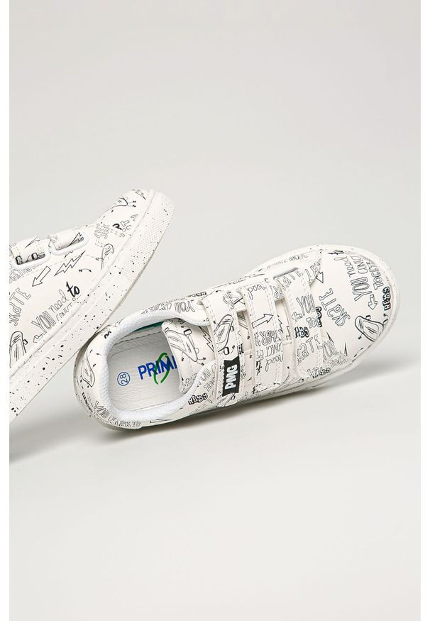 Białe buty sportowe Primigi na rzepy, z cholewką