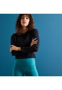 DOMYOS - Bluza fitness Domyos 500 krótka. Kolor: czarny. Materiał: poliester, elastan, materiał. Długość: krótkie. Sport: fitness