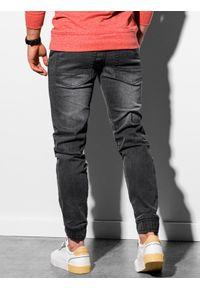 Ombre Clothing - Spodnie męskie jeansowe joggery P933 - czarne - XXL. Okazja: na co dzień. Kolor: czarny. Materiał: jeans. Wzór: gładki. Styl: casual
