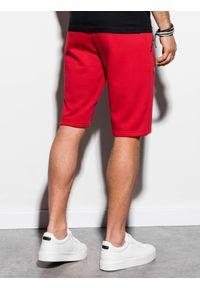 Ombre Clothing - Krótkie spodenki męskie dresowe W239 - czerwone - XXL. Okazja: na co dzień. Kolor: czerwony. Materiał: dresówka. Długość: krótkie. Wzór: nadruk. Sezon: wiosna, lato. Styl: casual, klasyczny