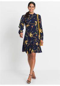 Niebieska sukienka bonprix ze stójką, z nadrukiem