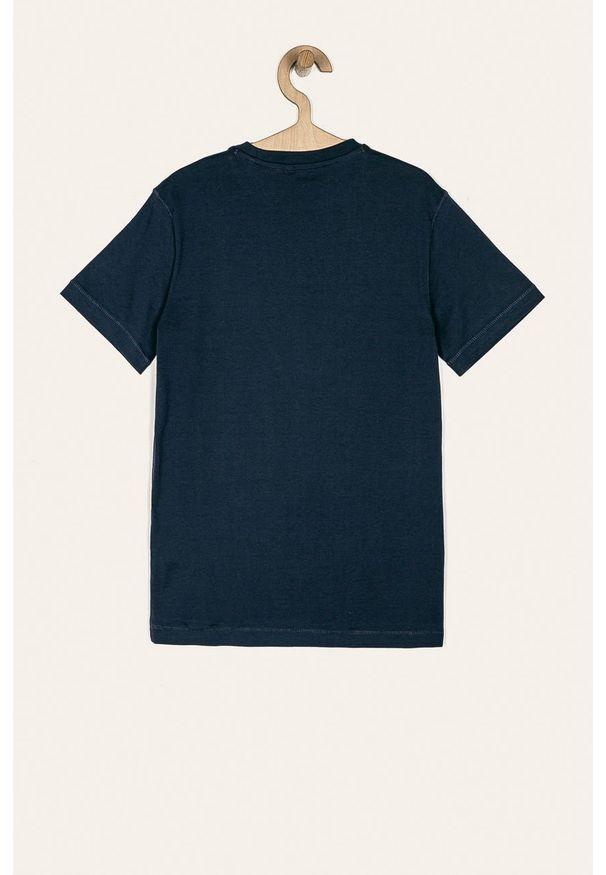 Niebieski t-shirt Guess Jeans z okrągłym kołnierzem, na co dzień
