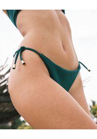 SUSAN SWIMWEAR - Dół od bikini Bow Green. Stan: obniżony. Kolor: zielony. Materiał: tkanina, satyna. Wzór: aplikacja
