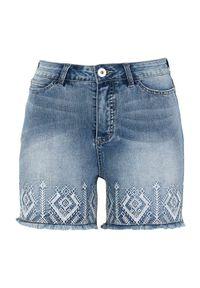Cellbes Dżinsowe szorty z haftem błękitny denim female niebieski 42. Kolor: niebieski. Materiał: denim. Wzór: haft
