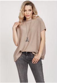 MKM - Luźny Sweter z Krótkim Rękawem - Mocca. Materiał: bawełna, akryl. Długość rękawa: krótki rękaw. Długość: krótkie