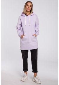 e-margeritka - Bluza damska z kapturem długa lila - l/xl. Okazja: na co dzień. Typ kołnierza: kaptur. Materiał: poliester, dzianina, materiał, bawełna. Długość: długie. Styl: casual