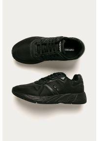 Czarne sneakersy Emporio Armani na sznurówki, z cholewką