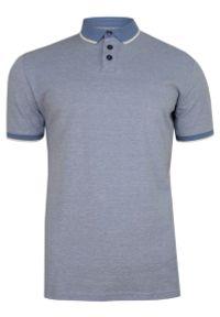 Pako Jeans - Niebieska Koszulka POLO, Męska, Krótki Rękaw -PAKO JEANS- T-shirt z Kołnierzykiem. Okazja: na co dzień. Typ kołnierza: polo. Kolor: niebieski. Materiał: bawełna. Długość rękawa: krótki rękaw. Długość: krótkie. Styl: casual