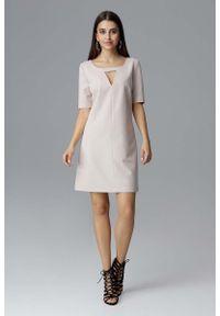 Beżowa sukienka wizytowa Figl prosta