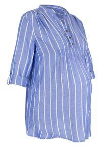 Tunika ciążowa i do karmienia bonprix niebieski w paski. Kolekcja: moda ciążowa. Kolor: niebieski. Wzór: paski