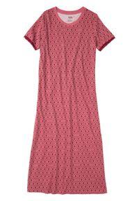 Długa koszula nocna z bawełny organicznej bonprix czerwony rododendron w graficzny deseń