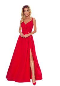 Czerwona sukienka wieczorowa Numoco maxi, na ramiączkach, kopertowa, z kopertowym dekoltem