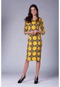 Nommo - Stylowa Sukienka Ołówkowa z Ozdobnymi Guzikami. Materiał: wiskoza, poliester. Typ sukienki: ołówkowe. Styl: elegancki
