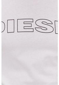 Diesel - T-shirt. Okazja: na co dzień. Kolor: biały. Materiał: dzianina. Wzór: nadruk. Styl: casual