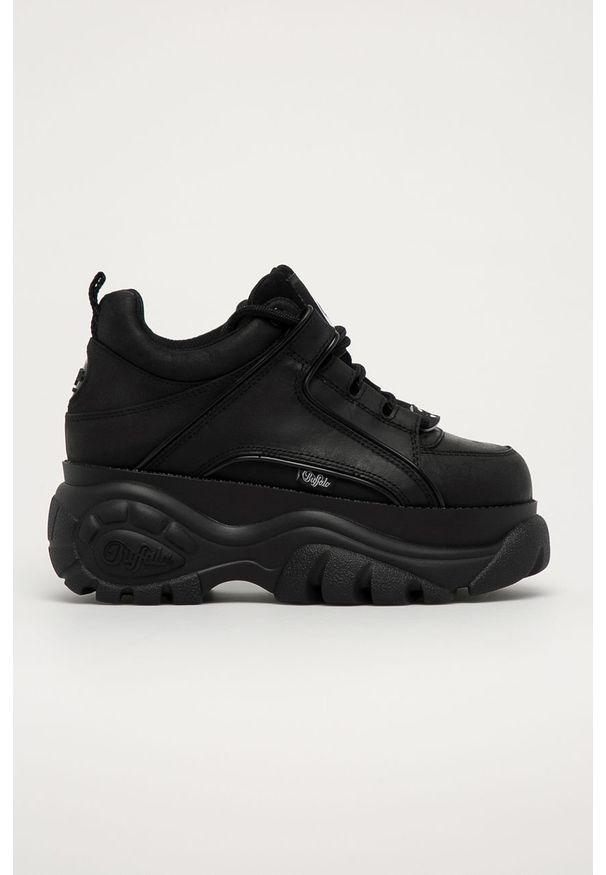 Czarne sneakersy Buffalo na obcasie, na sznurówki