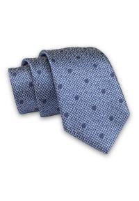 Alties - Niebieski Melanżowy Elegancki Męski Krawat -ALTIES- 7cm, Stylowy, Klasyczny, w Granatowe Kropki. Kolor: niebieski. Materiał: tkanina. Wzór: grochy. Styl: klasyczny, elegancki