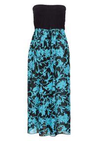 Sukienka plażowa z dekoltem bandeau bonprix czarno-turkusowy. Okazja: na plażę. Kolor: czarny. Styl: elegancki