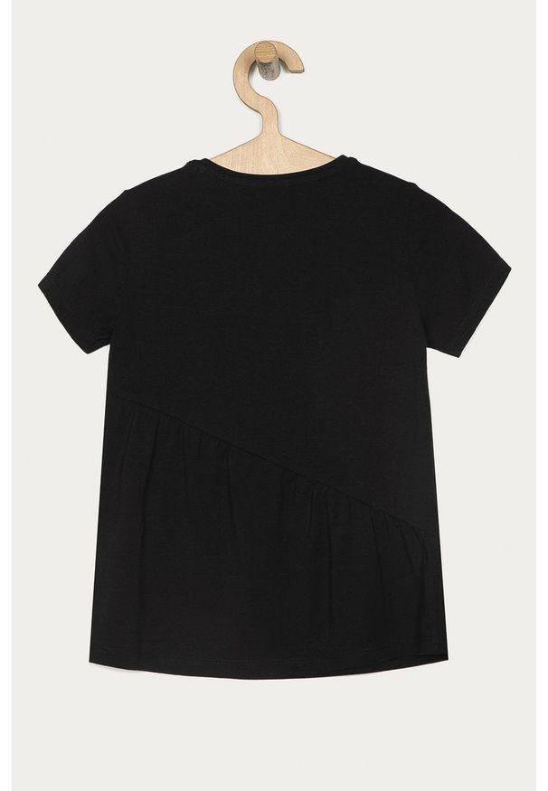 Czarna bluzka z krótkim rękawem Guess Jeans na co dzień, z aplikacjami, casualowa, z okrągłym kołnierzem