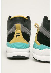 Czarne sneakersy Fila na sznurówki, z cholewką, z okrągłym noskiem