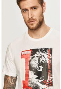 Biały t-shirt Puma casualowy, z okrągłym kołnierzem