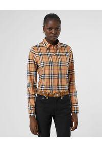 Burberry - BURBERRY - Koszula w kratę. Kolor: brązowy. Materiał: materiał. Długość rękawa: długi rękaw. Długość: długie. Styl: klasyczny, elegancki