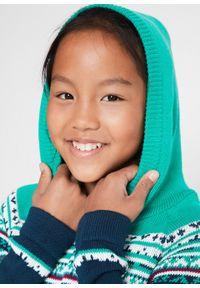 Sukienka dziewczęca dzianinowa z kapturem bonprix ciemnoniebiesko-turkusowy. Typ kołnierza: kaptur. Kolor: niebieski. Materiał: dzianina
