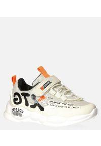 Casu - beżowe buty sportowe na rzep casu 204/8m. Zapięcie: rzepy. Kolor: beżowy