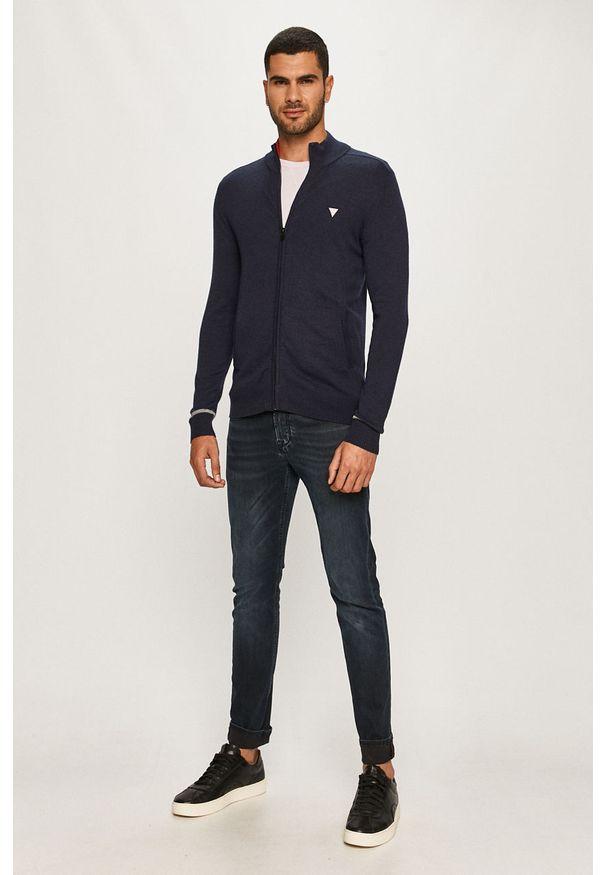 Niebieski sweter rozpinany Guess Jeans casualowy, na co dzień