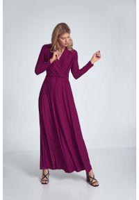 Figl - Długa Rozkloszowana Sukienka Kopertowa - Fuksja. Kolor: różowy. Materiał: poliester, elastan. Typ sukienki: kopertowe. Długość: maxi