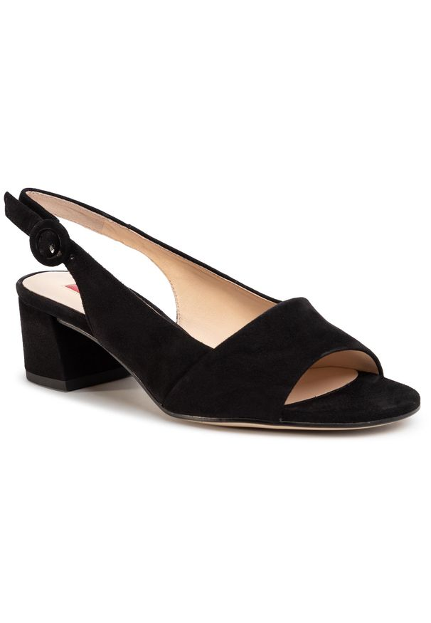 Czarne sandały HÖGL na co dzień, na średnim obcasie, na obcasie, casualowe