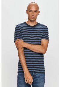 Niebieski t-shirt PRODUKT by Jack & Jones z okrągłym kołnierzem, casualowy