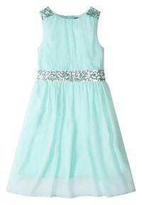 Sukienka dziewczęca z cekinami bonprix pastelowy miętowy. Kolor: zielony. Materiał: szyfon. Długość rękawa: na ramiączkach