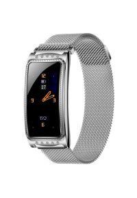 Srebrny zegarek GARETT sportowy, smartwatch