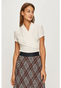 Biała bluzka DKNY na co dzień, z krótkim rękawem, casualowa