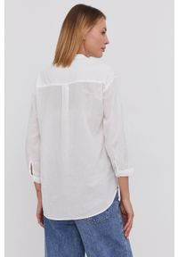Answear Lab - Koszula. Typ kołnierza: kołnierzyk stójkowy. Kolor: biały. Materiał: tkanina. Długość: długie. Wzór: haft. Styl: wakacyjny