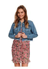 TOP SECRET - Denimowa krótka kurtka damska. Kolor: niebieski. Materiał: tkanina, jeans. Długość rękawa: długi rękaw. Długość: krótkie. Sezon: lato, wiosna