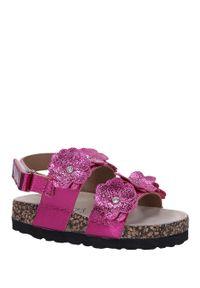 Różowe sandały Casu w kwiaty, na rzepy