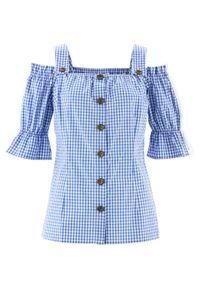 Bluzka w stylu ludowym, krótki rękaw bonprix błękitno-biały w kratę. Kolor: niebieski. Materiał: koronka. Długość rękawa: krótki rękaw. Długość: krótkie. Wzór: koronka