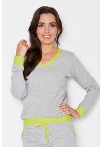 Katrus - Szaro-zielona Dresowa Nierozpinana Bluza z Dekoltem V z Kontrastowymi Mankietami. Kolor: zielony, wielokolorowy, szary. Materiał: dresówka