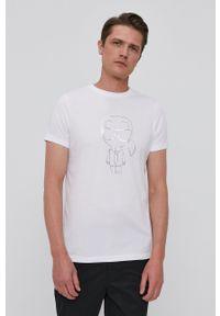 Karl Lagerfeld - T-shirt. Okazja: na co dzień. Kolor: biały. Wzór: nadruk. Styl: casual