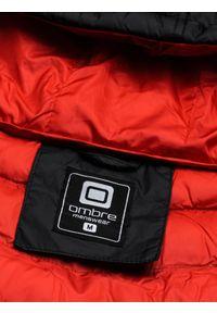 Ombre Clothing - Kurtka męska puchowa pikowana C356 - czarna - XXL. Okazja: na co dzień. Typ kołnierza: kaptur. Kolor: czarny. Materiał: puch. Styl: casual