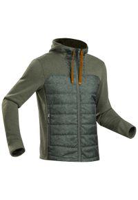 quechua - Bluza z kapturem turystyczna - NH100 Hybride - męska. Typ kołnierza: kaptur. Kolor: brązowy, wielokolorowy, zielony. Materiał: włókno, polar, materiał, poliester, tkanina, dzianina