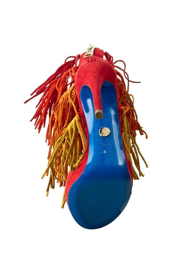 Czerwone sandały Loriblu na zamek, w kolorowe wzory