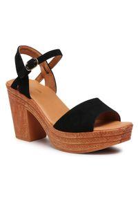 Czarne sandały Clara Barson na obcasie, na średnim obcasie